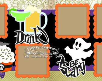 Halloween Party Scrapbook Page Kit Eat Drink Be Scary Boy Girl Baby 2 page Scrapbook Layout Kit 18