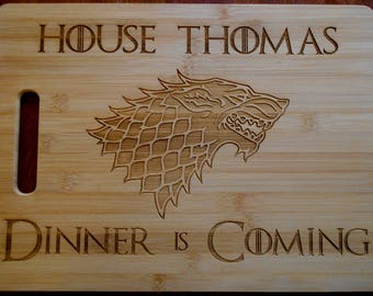 Custom Personalized Game of Thrones Bamboo Cutting Board Laser-engraved names on cutting board Dinner is Coming Christmas Gift cheese board