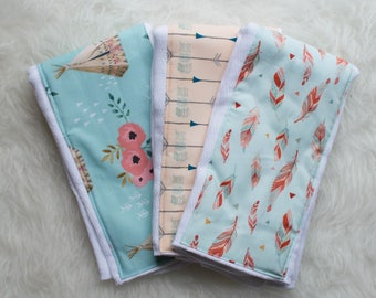 Whimsical Set of 3 Burp Cloths
