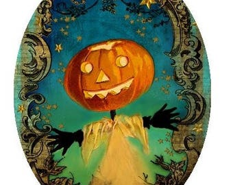 """Fantasy Pumpkin Scarecrow Picture Pendant Necklace 1""""x7/10"""" or  1""""x1.5"""" with Chain"""