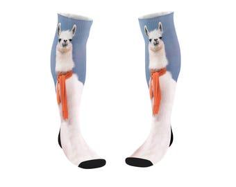Llama scarf socks - Christmas socks, funny tube socks, Meme socks , Dad socks, Present socks, Sport socks 9M017