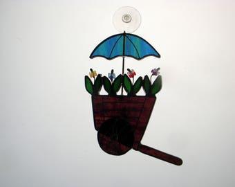 Stained Glass Suncatchr - Flowercart (416)