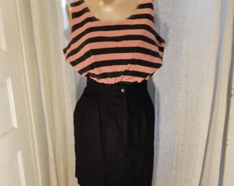 Retro grunge rocker stripe top, pink and black vintage tank