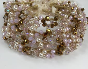 Gold wire crystal bead wreath