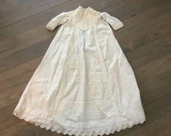 Antique Victorian christening gown/ivory newborn baby gown/vintage baptism gown