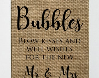 UNFRAMED Bubbles Blow Kisses and Well Wishes For The New Mr&Mrs / Burlap Sign Print 5x7 8x10 / Rustic Shabby Wedding Party Bubbles Favors