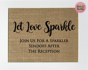 Let Love Sparkle. Join Us For A Sparkler Sendoff / Burlap Sign Print UNFRAMED / Rustic Shabby Chic Wedding Party Decor Sign