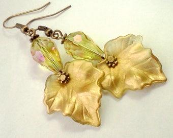 Golden Leaf Earrings, Painted Leaf Earrings, Hand Painted Leaves, Autumn Jewelry, Lucite Earrings, Earrings for Fall, Handmade Earrings