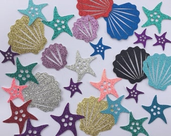 Seashell Starfish cut outs confetti 100 pieces - glitter color variety - birthday party