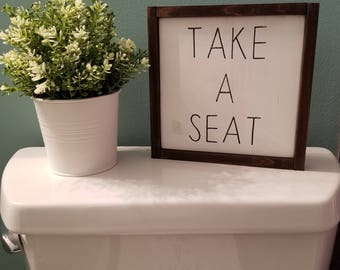 Take a seat wood sign   farmhouse sign   framed sign   rustic sign   bathroom sign   bathroom décor   farmhouse decor   bathroom   vintage