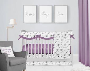 Harry Potter Flying Keys Violet Crib Bedding Set. Baby Bedding. HP Baby Bedding. Baby Shower Gift. Wizard Nursery. Harry Potter Nursery.