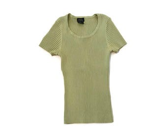 Vintage 90s Green Ribbed Blouse