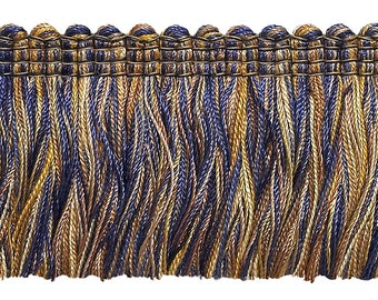 """Navy Blue Taupe  Baroque Collection Brush Fringe 1 3/4"""" Long Style# 0175bb Color  Navy Taupe - 5817  (sold by The Yard)"""