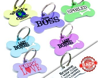 Personalized Pet ID Tags - Custom Dog Pet Name Address Tags Discs - Dog Collar Identity Name Tag
