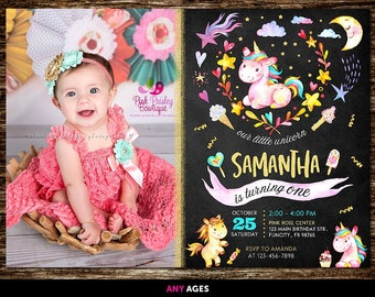 Birthday Invitations for Girls Unicorn, Unicorn Birthday Invitation With Photo, Unicorn Birthday Invitation, Unicorn Party Invitations