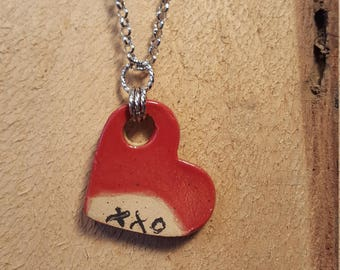 Ceramic heart valentine pendant necklace