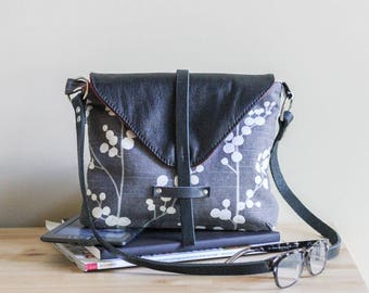 Leather & Fabric Crossbody Messenger Bag • Gray Black and White