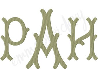 """4 Sizes Large Branches Monogram Machine Embroidery Font - 5"""" 6"""" 7"""" 8"""" - 8 File Formats PES JEF DST - Fill Stitch Instant Download"""