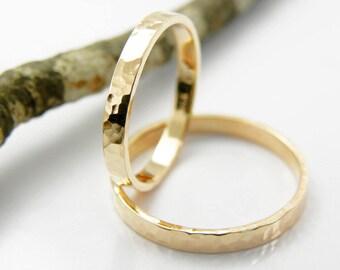 Gold wedding bands set-14k solid rose gold-2 mm x 1 mm -Hammered shinny finish.