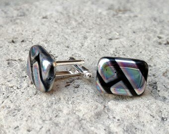 Cuff Links - Black Glass Block