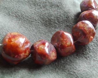 Ceramic Diamond Beads Handmade   beads  Artisan Beads Clay Pottery  N27