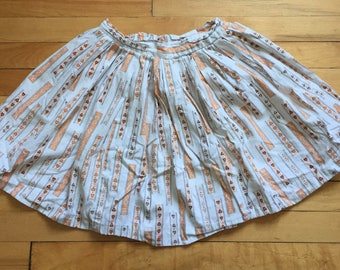 Vintage 1950s Girls Mid Century Novelty Print Skirt! Size 6-7