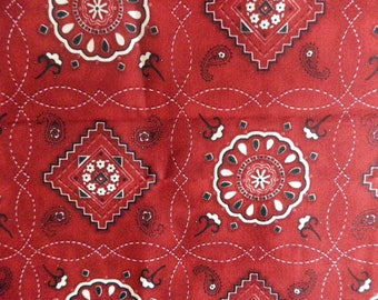 """fabric """"rosette"""" on red background"""