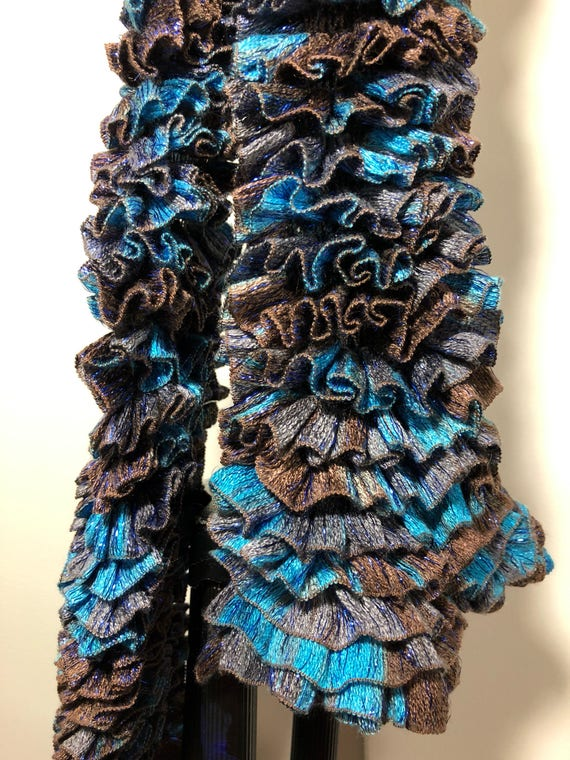 Handknit Ruffled Scarf brown and blue 100% acrylic