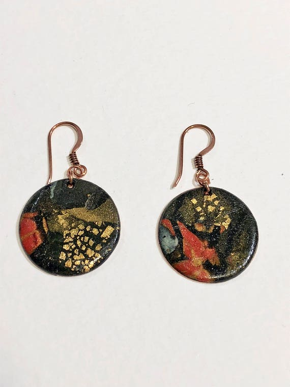 Earrings - multi color contemporary handmade polymer clay on round shaped gold plated piece with 14 k gold plated ear wire