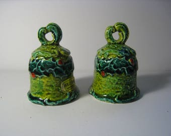 Christmas bell shaker set. Napcoware Holly Day pattern Salt and Pepper shakers.  Vintage kitchen collectible