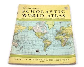 Vintage 1967 Colorprint Scholastic World Atlas Maps for Papercrafts