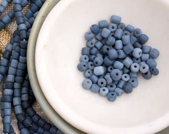 Blue Lampwork Glass Tube Beads, Dark Denim Blue Matte Rustic Spacer Beads, Denim Blue Glass Beads, Indonesian Beads, Seed Beads,  BB17-1020A