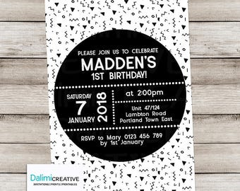 Monochrome Birthday Invitation - Monochrome Invitation - Black and White Themed Party Invite - Childs Invite - Print Yourself Invitation!