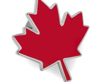 Canada Maple Leaf Lapel Pin Tie Tack Red Canadian Enamel Comes with Gift Box