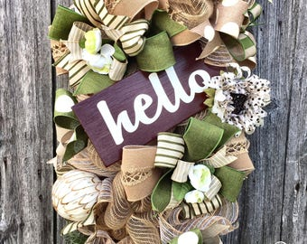 Hello Wreath, Hello Swag, Fall Wreath, Fall Swag, Everyday Wreath, Autumn Wreath, Autumn Swag, Fall Decor, Fall Front Door, Autumn Decor