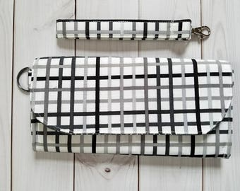 Wristlet Wallet - Fabric Wallet - Clutch - Black & Gray Grid Wallet - Accessories- Gift for Her