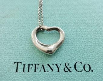 Authentic Tiffany & Co. Elsa Peretti 16mm Open Heart Sterling Silver Pendant Necklace
