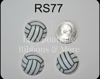 Volleyball resins, cabochons, sports resins, flatback volleyball, hair bow center piece, embellishment