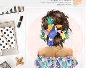 3 FOR 2. Tropical Girl Clipart, Watercolor Fashion Illustration, Summer Hair, Beach Fashionista, Digital Planner Sticker, Pineapple Fruit.