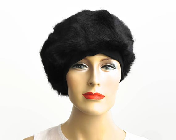 Black faux fur hat, fully lined, Styled by Hega, small size, winter accessory, circa 1960s