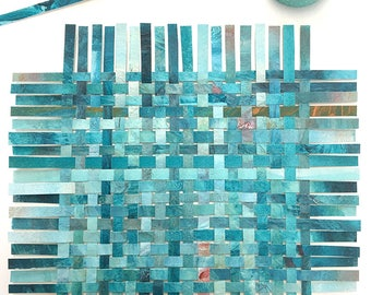 Turquoise Paper Weaving- Abstract Art- Woven Paper- 7x8- Acrylic and Watercolor
