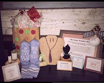 Gypsy Wonder's Box is a perfect gift that includes essential oils, handmade jewelry, seasonal decor, personalized items & much more!