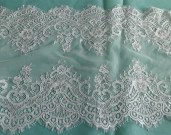Chantilly Lace Fabric, Black Eyelash Lace Trim, Wedding Table Decor, Black Floral lace shawl -36cm