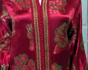 Red & Gold Satin Silk Lame Chinese Robe - Ethic Robe - Asian Hostess Dress - Chinese Tunic/ Dress Cocktail Dress/size XS/S