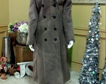 Sawyer of Napa sheepskin full length coat, made in California,Mouton Fur Jacket / Sheared Lamb Mouton Fur Coat  Gray Lambs Wool Coat S/XS