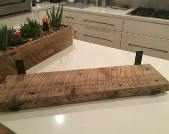 "7.75"" DEEP BY.....Reclaimed Wood Shelf With (2) Handmade Steel Shelf Brackets"