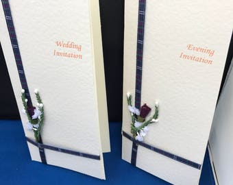 Scottish Wedding Stationery - (Thistle and Tartan) Handcrafted Day and Evening Invitations