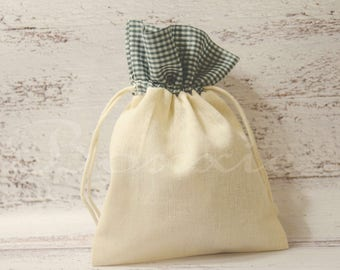 Green gingham plaid top cotton fabric bag 5x7 inch set of 3