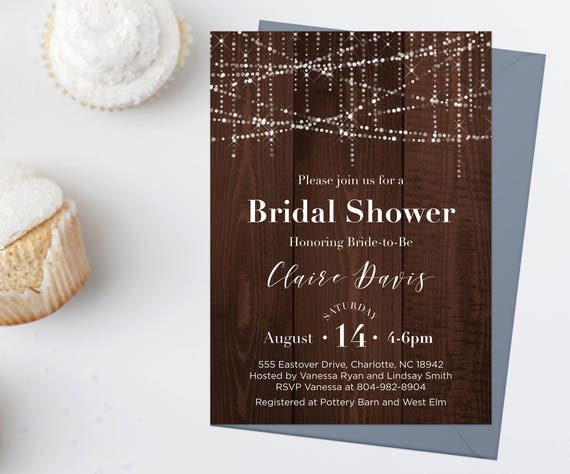 Wood Bridal Shower Invitation Download