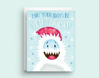 Yeti Card, Funny Christmas Card, Merry Christmas Card, Cute Christmas Card, Christmas Greeting Card, Holiday Card